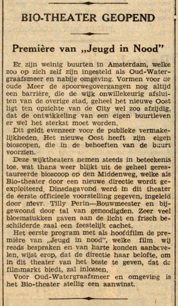 11 november 1936 - BIO-Theater geopend