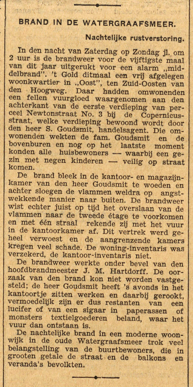 12 september 1932 - Brand in de Watergraafsmeer