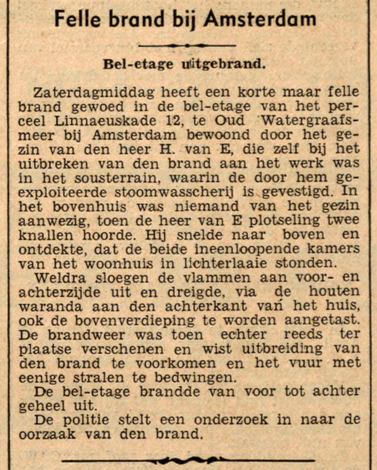14 april 1936 - Felle brand bij Amsterdam