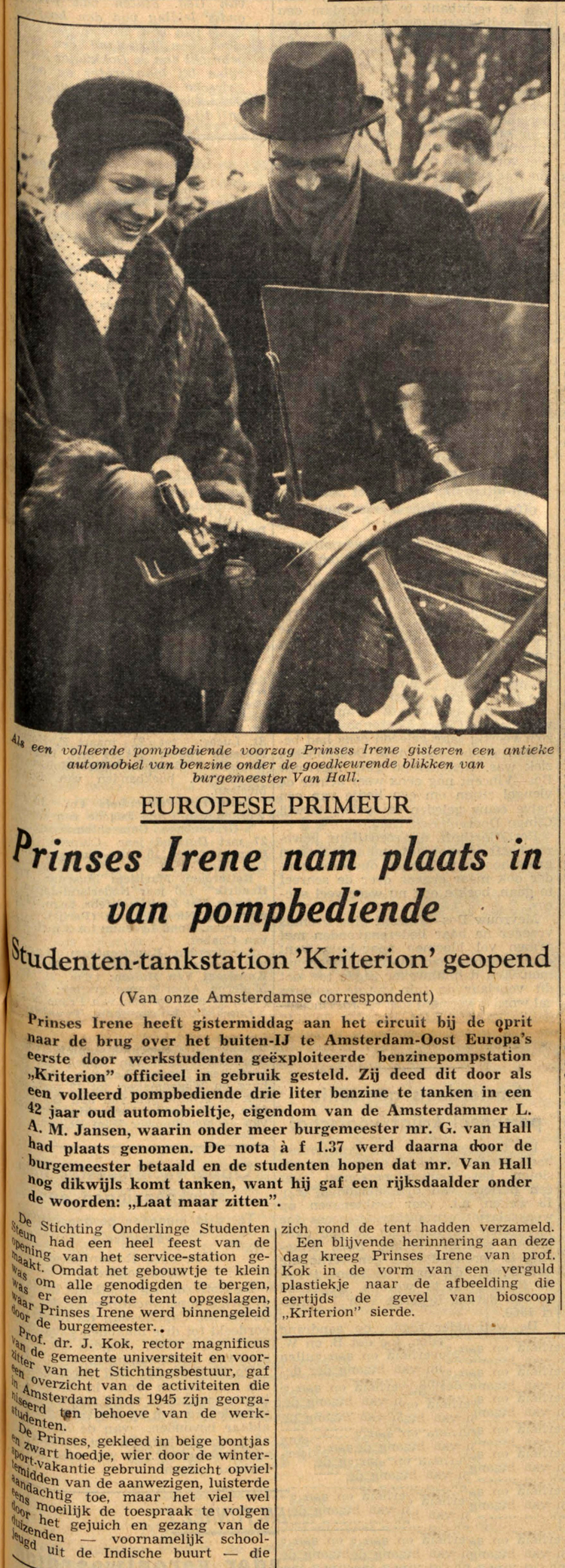 18 februari 1960 - Prinses Irene nam plaats in van pompbediende