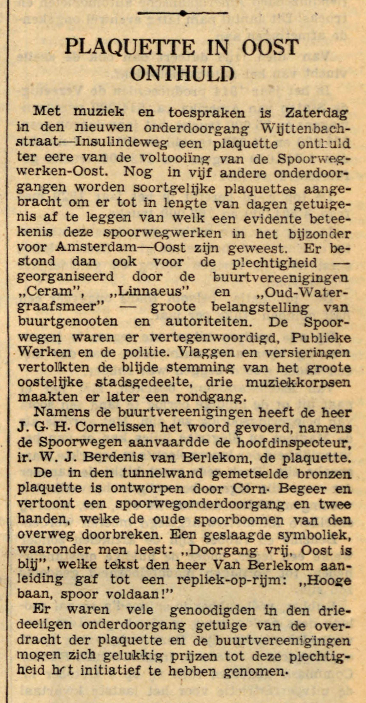 23 oktober 1939 - Plaquette in Oost onthuld