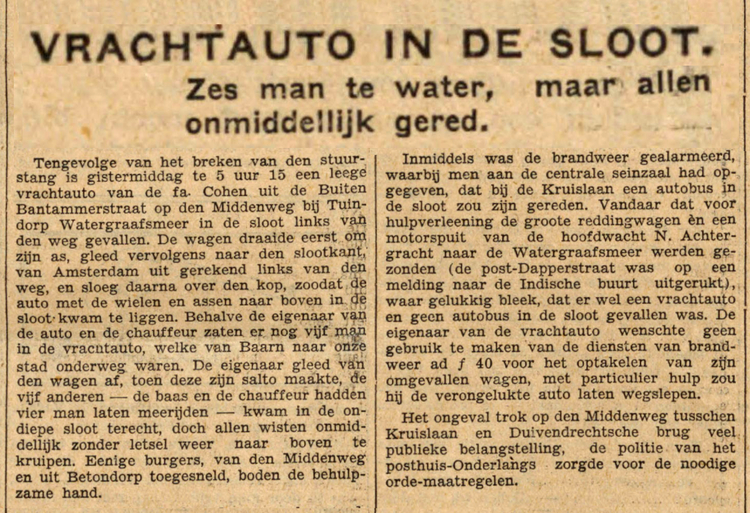 24 november 1931 - Vrachtauto in de sloot
