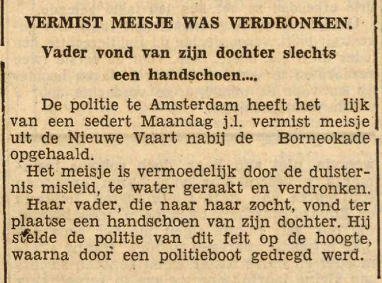 27 december 1940 - Vermist meisje was verdronken