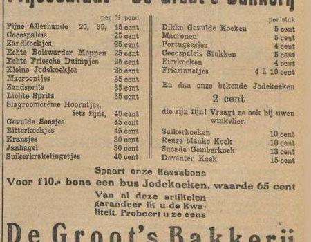 Advertentie van de groot s bakkerij geheugen van oost for Bakkerij amsterdam west