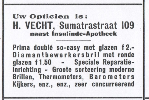 Advertentie Opticien Vecht in de Sumatrastraat (feb. 1926).