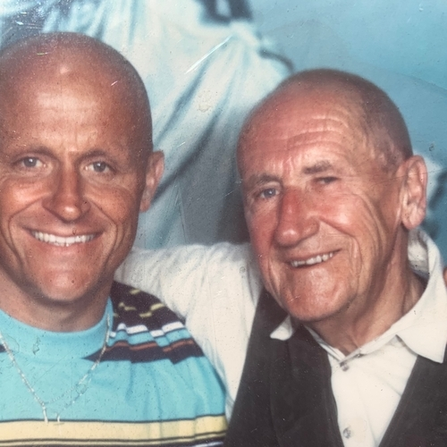 Rein Mulder 1927-2007 met zoon 1995